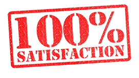 100 percent satisfaction red logo