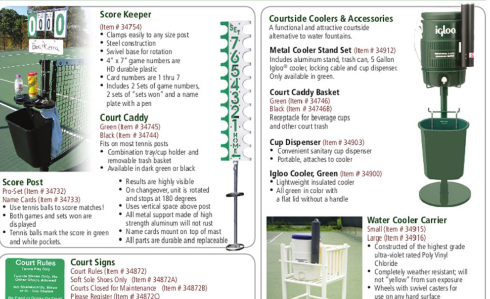 Master Systems Courts Court Accessories Catalog Sample